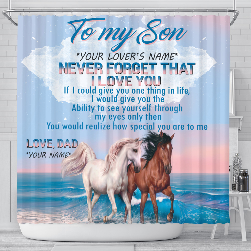 Personalized Shower Curtain 71 X 71 Inch To My Son Never Forget That I Love You Pattern 1 Set 12 Hooks Decorative Bath Modern Bathroom Accessories Machine Washable