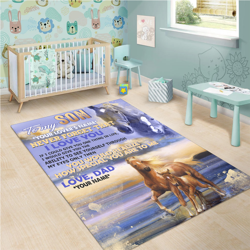 Personalized Floor Area Rugs To My Son Never Forget That I Love You Pattern 2 Indoor Home Decor Carpets Suitable For Children Living Room Bedroom Birthday Christmas Aniversary