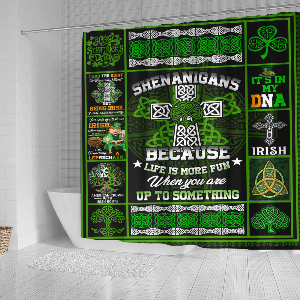 Personalized Lovely Shower Curtain St Patrick's Day Life Is More Fun When You Are Up To Something  Pattern 1 Set 12 Hooks Decorative Bath Modern Bathroom Accessories Machine Washable