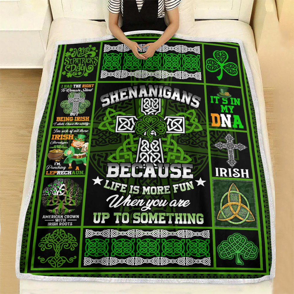 Personalized Lovely Fleece Throw Blanket St Patrick's Day Life Is More Fun When You Are Up To Something Pattern 1 Lightweight Super Soft Cozy For Decorative Couch Sofa Bed