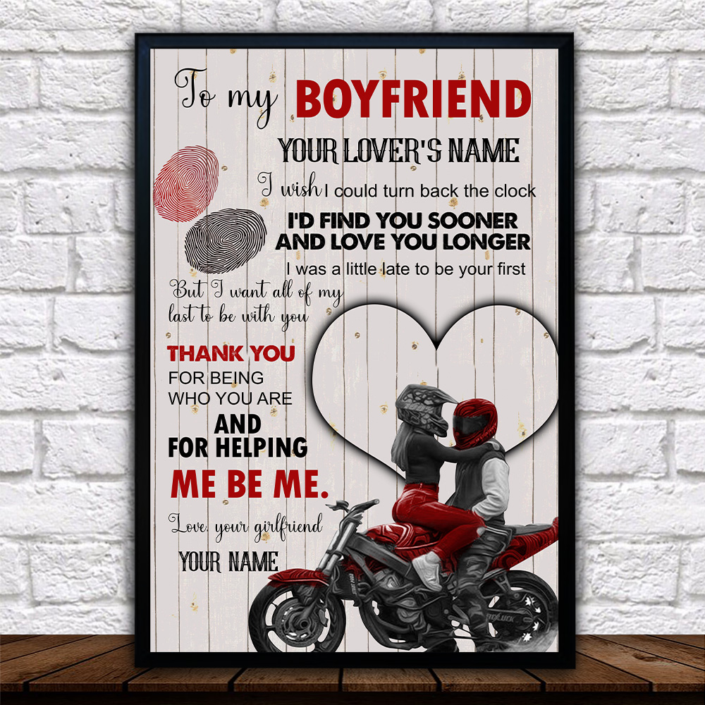 Personalized Lovely Wall Art Poster To My Boyfriend I Want All Of My Last To Be With You Pattern 1 Prints Decoracion Wall Art Picture Living Room Wall