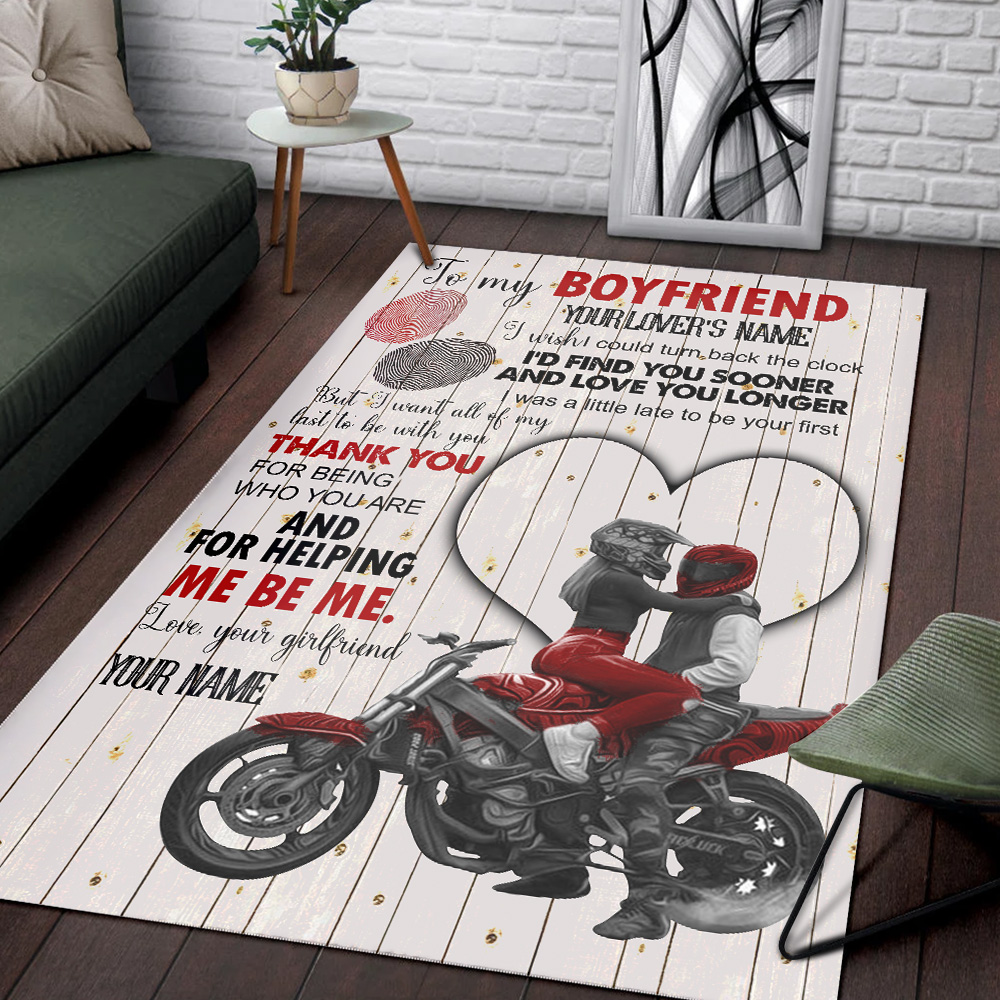 Personalized Lovely To My Boyfriend I Want All Of My Last To Be With You Pattern 1 Vintage Area Rug Anti-Skid Floor Carpet For Living Room Dinning Room Bedroom Office