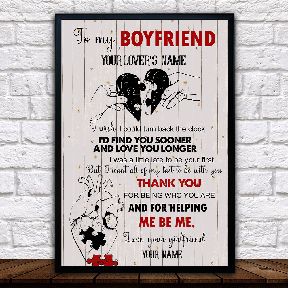 Personalized Lovely Wall Art Poster To My Boyfriend I Want All Of My Last To Be With You Pattern 2 Prints Decoracion Wall Art Picture Living Room Wall