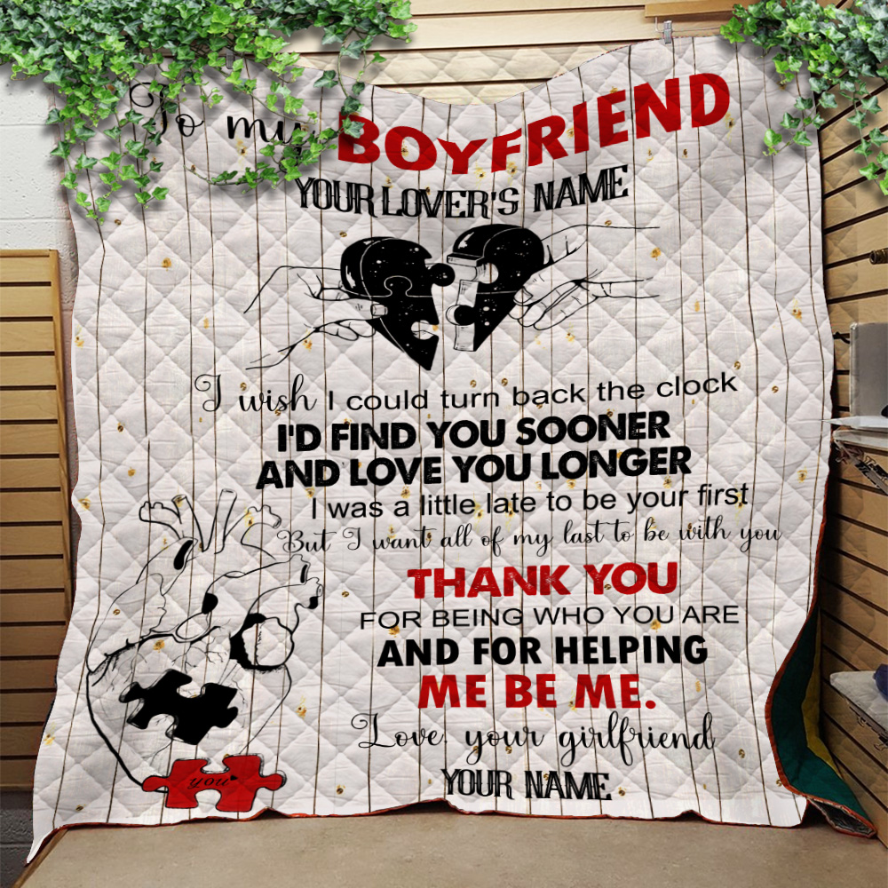Personalized Lovely Quilt Throw Blanket To My Boyfriend I Want All Of My Last To Be With You Pattern 2 Lightweight Super Soft Cozy For Decorative Couch Sofa Bed