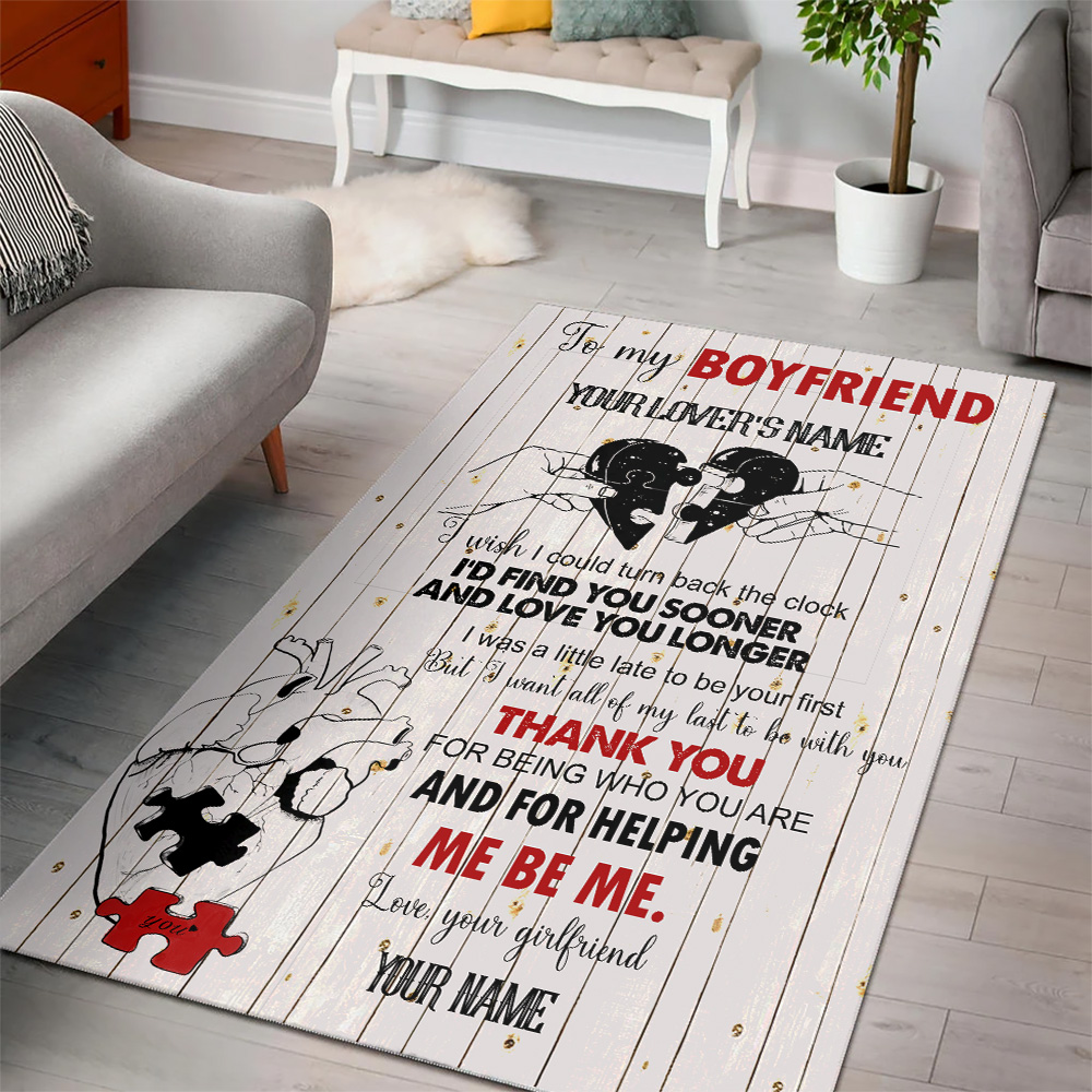 Personalized Lovely To My Boyfriend I Want All Of My Last To Be With You Pattern 2 Vintage Area Rug Anti-Skid Floor Carpet For Living Room Dinning Room Bedroom Office