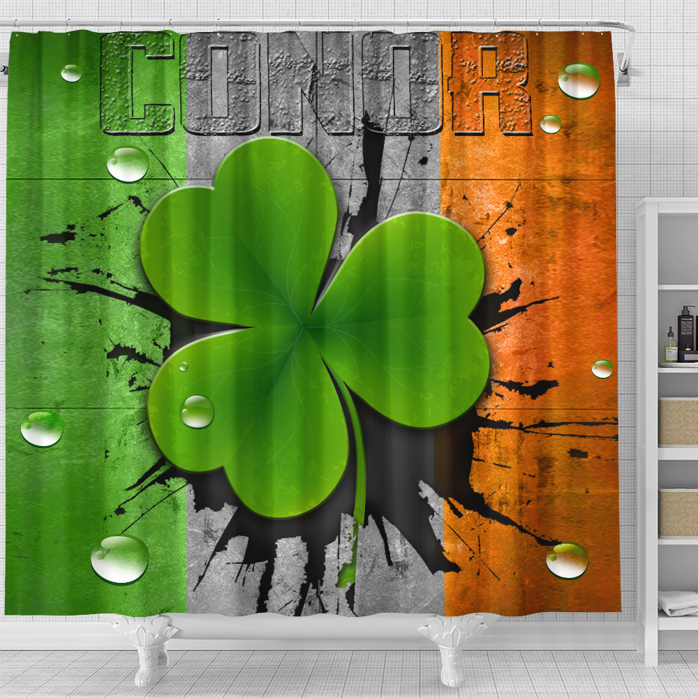 Personalized Lovely Shower Curtain St Patrick's Day Heart Irish Conor Pattern1 Set 12 Hooks Decorative Bath Modern Bathroom Accessories Machine Washable