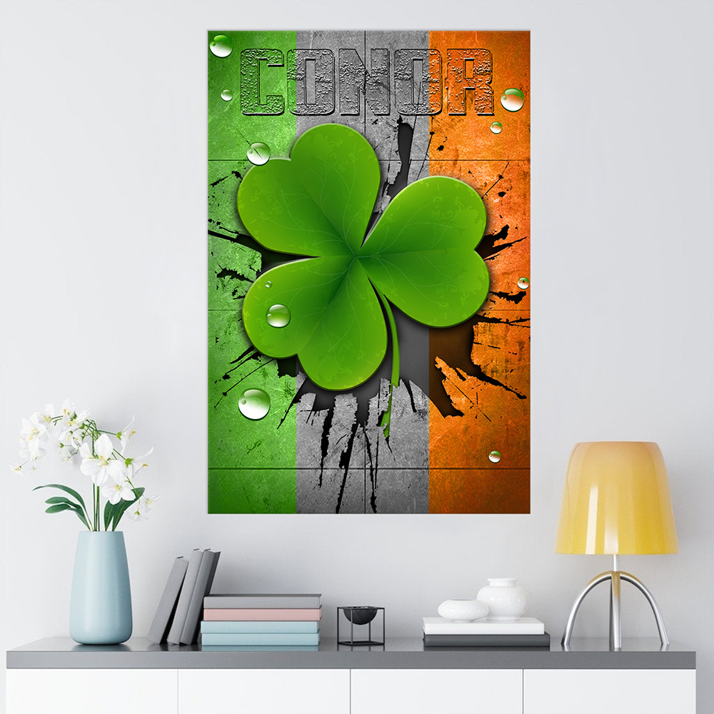 Personalized Lovely Wall Art Poster St Patrick's Day Heart Irish Conor Pattern 1  Prints Decoracion Wall Art Picture Living Room Wall