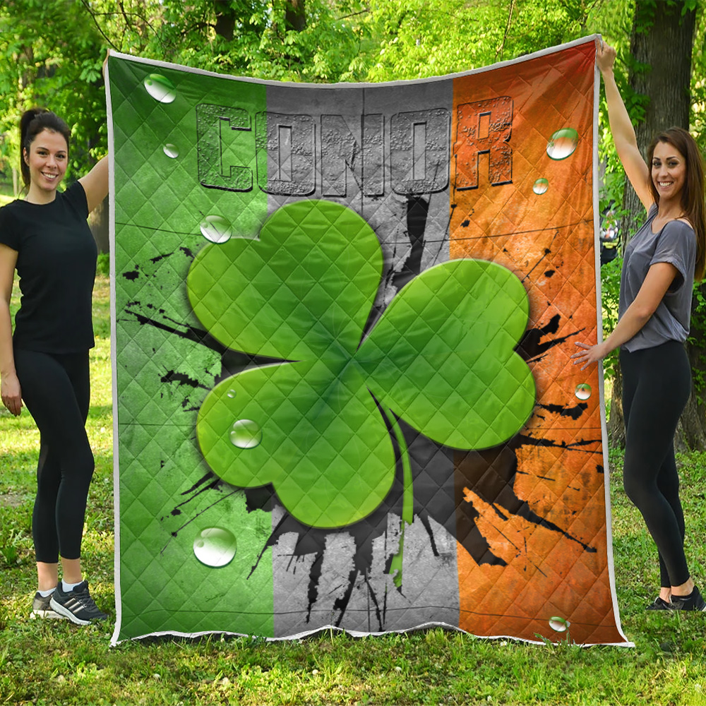 Personalized Lovely Quilt Throw Blanket St Patrick's Day Heart Irish Conor Pattern 1  Lightweight Super Soft Cozy For Decorative Couch Sofa Bed