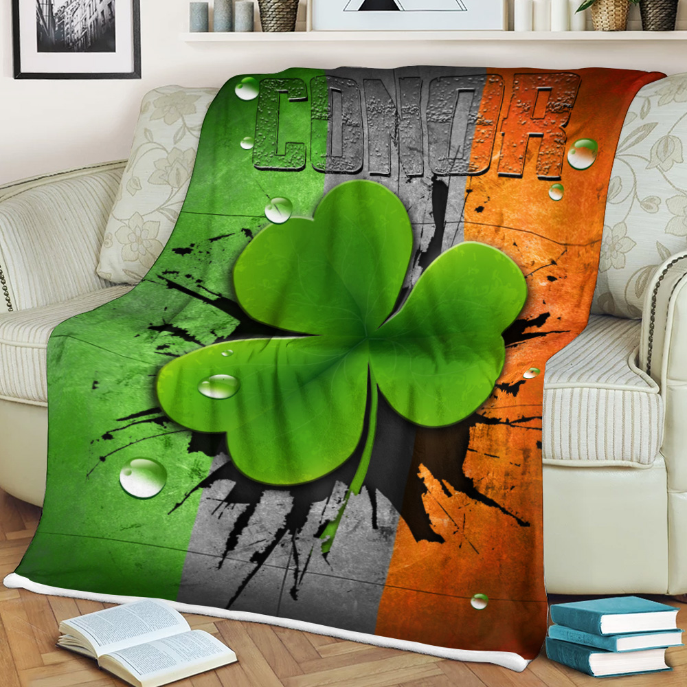Personalized Lovely Fleece Throw Blanket St Patrick's Day Heart Irish Conor Pattern 1  Lightweight Super Soft Cozy For Decorative Couch Sofa Bed