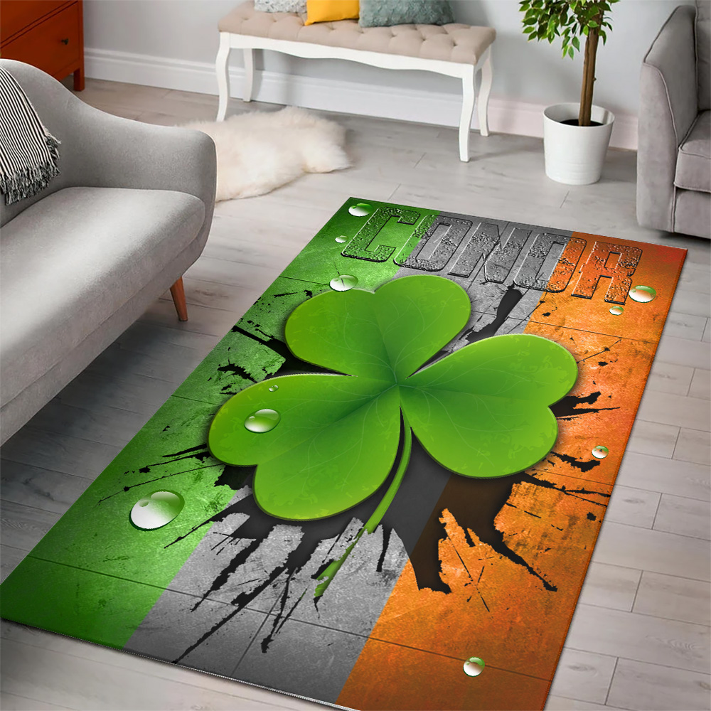 Personalized Lovely St Patrick's Day Heart Irish Conor Pattern 1  Vintage Area Rug Anti-Skid Floor Carpet For Living Room Dinning Room Bedroom Office