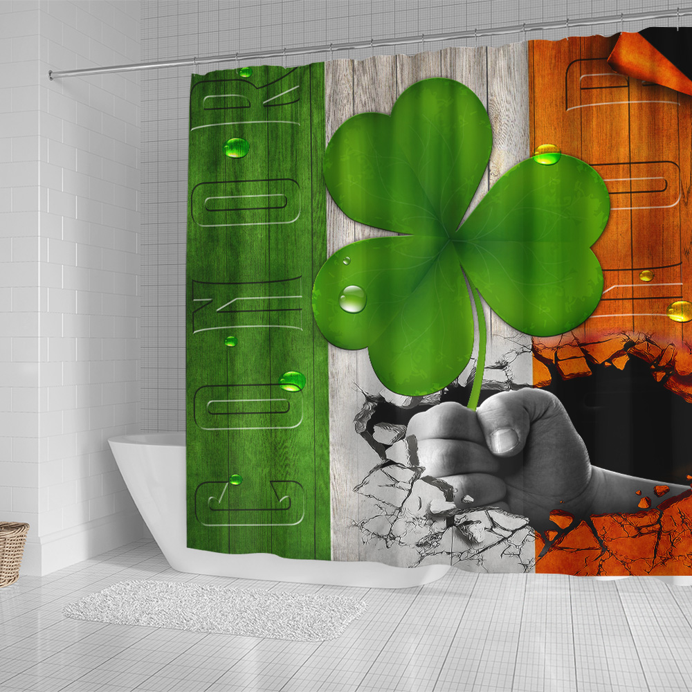 Personalized Lovely Shower Curtain St Patrick's Day Heart Irish Conor Pattern 2 Set 12 Hooks Decorative Bath Modern Bathroom Accessories Machine Washable