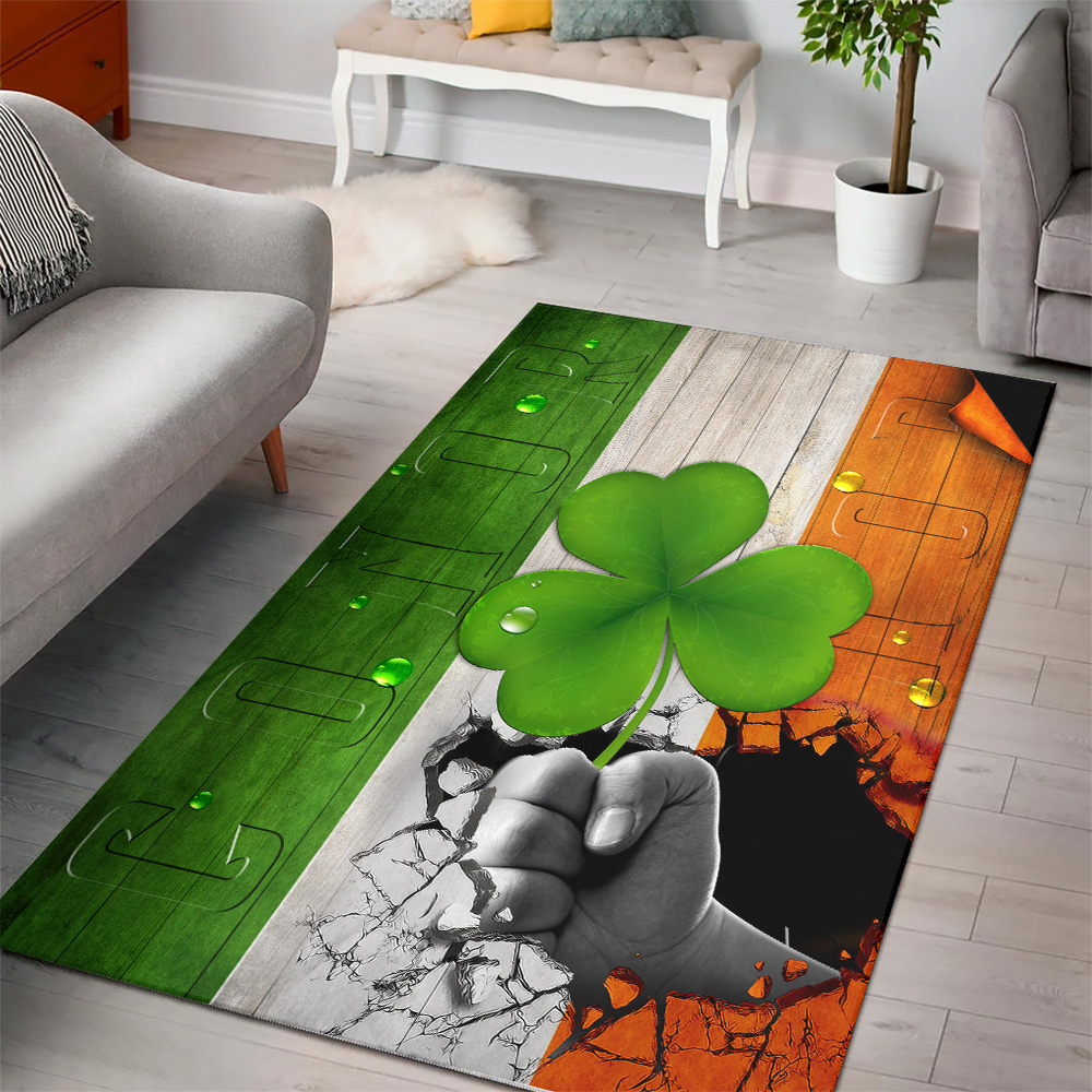 Personalized Lovely St Patrick's Day Heart Irish Conor Pattern 2 Vintage Area Rug Anti-Skid Floor Carpet For Living Room Dinning Room Bedroom Office