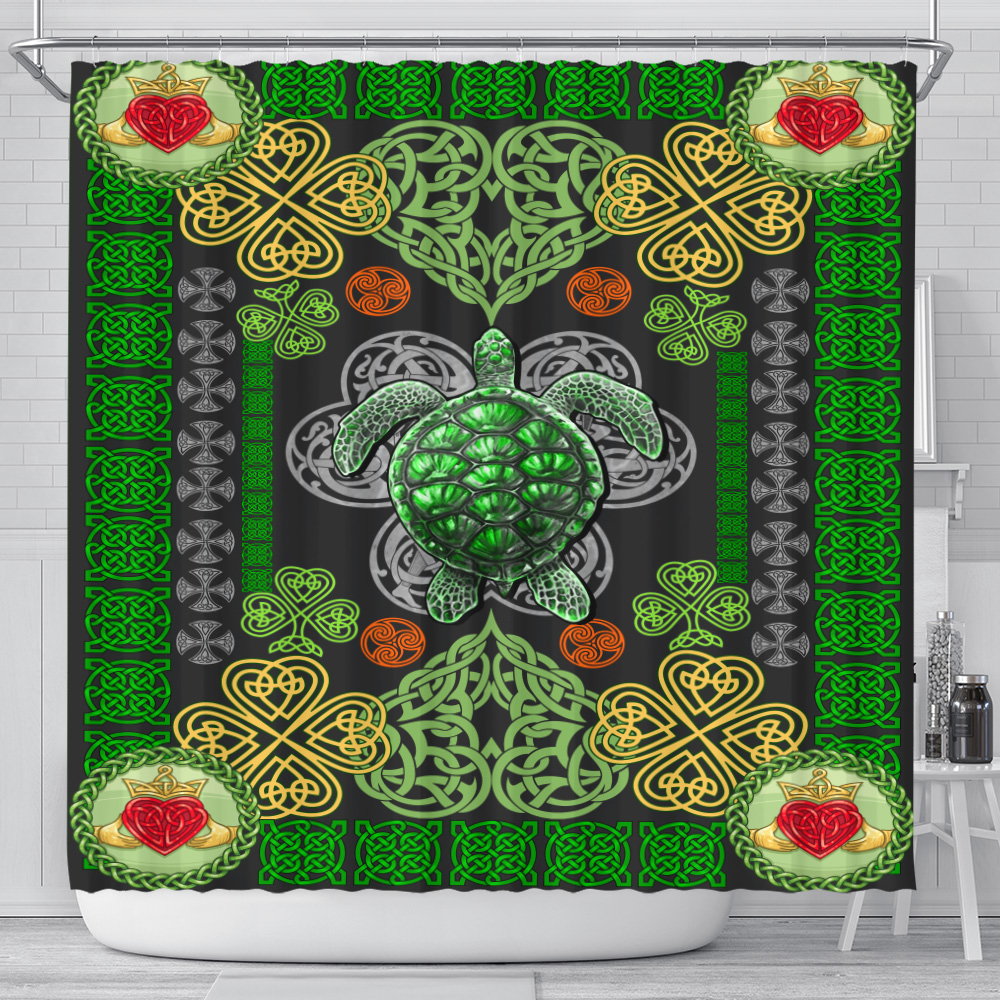 Personalized Lovely Shower Curtain St Patrick's Day Heart Irish Turtle Pattern 1 Set 12 Hooks Decorative Bath Modern Bathroom Accessories Machine Washable