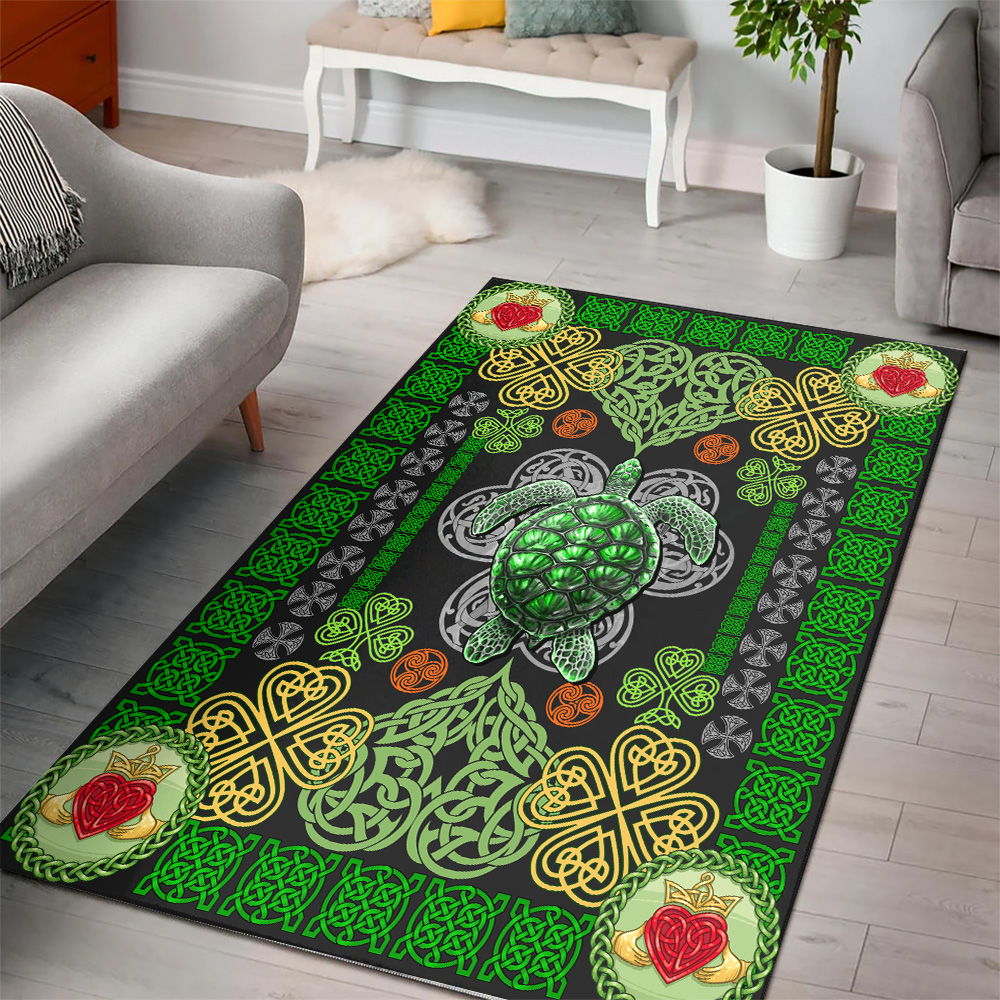 Personalized Lovely St Patrick's Day Heart Irish Turtle Pattern 1 Vintage Area Rug Anti-Skid Floor Carpet For Living Room Dinning Room Bedroom Office