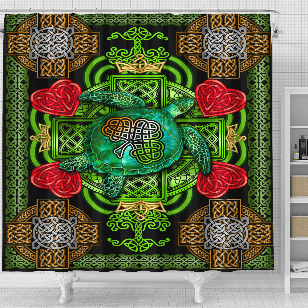 Personalized Lovely Shower Curtain St Patrick's Day Heart Irish Turtle Pattern 2 Set 12 Hooks Decorative Bath Modern Bathroom Accessories Machine Washable