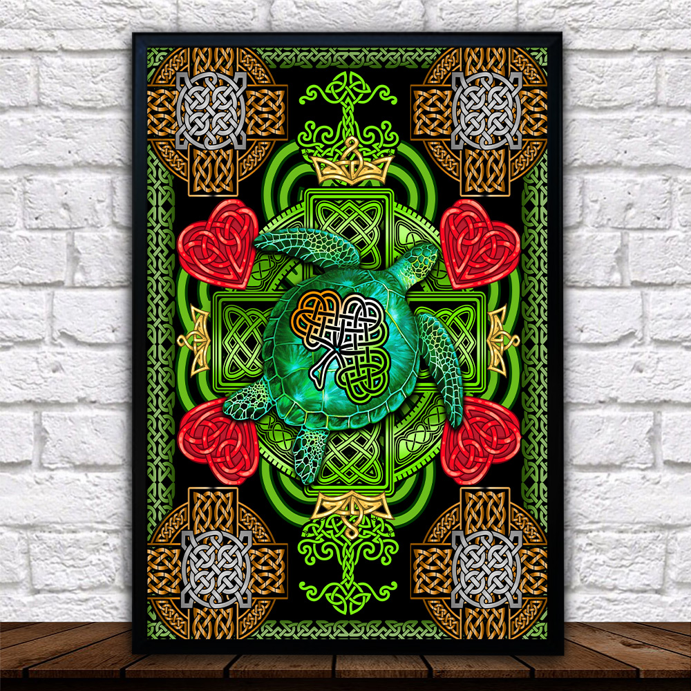 Personalized Lovely Wall Art Poster St Patrick's Day Heart Irish Turtle Pattern 2 Prints Decoracion Wall Art Picture Living Room Wall