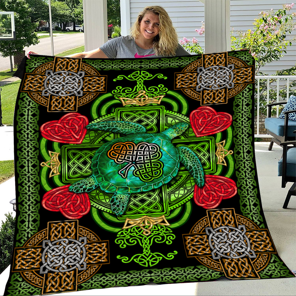 Personalized Lovely Quilt Throw Blanket St Patrick's Day Heart Irish Turtle Pattern 2 Lightweight Super Soft Cozy For Decorative Couch Sofa Bed