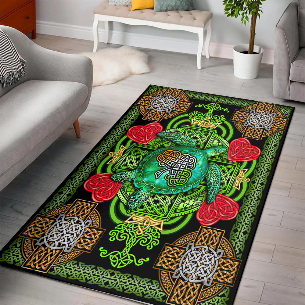 Personalized Lovely St Patrick's Day Heart Irish Turtle Pattern 2 Vintage Area Rug Anti-Skid Floor Carpet For Living Room Dinning Room Bedroom Office
