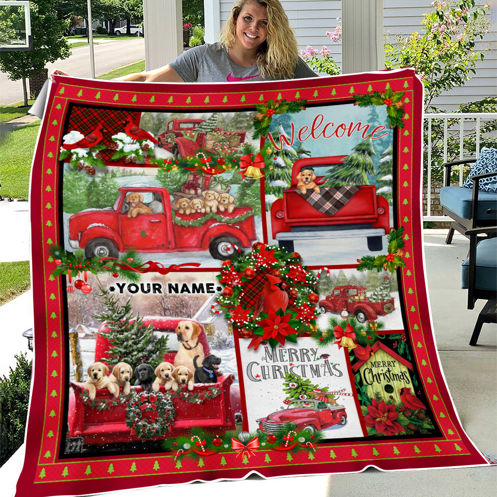 Personalized Fleece Throw Blanket Take A Little Christmas With You Pattern 2 Lightweight Super Soft Cozy For Decorative Couch Sofa Bed