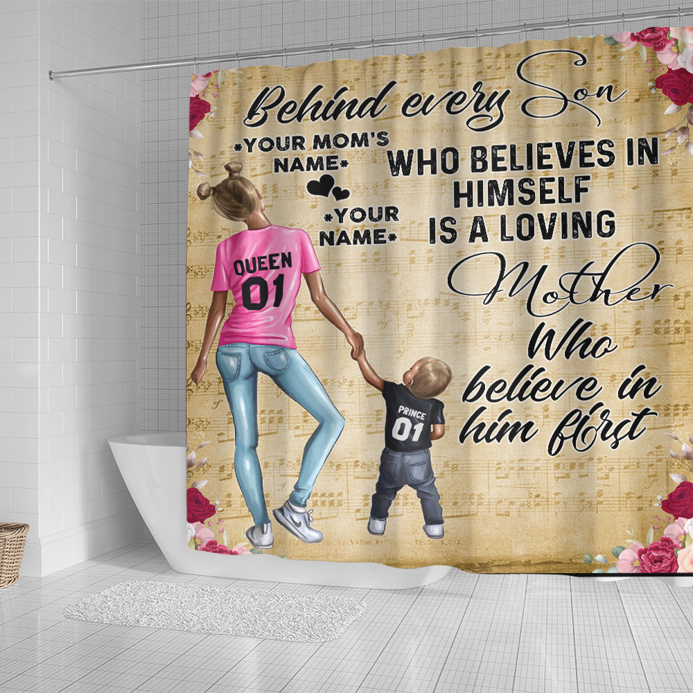 Personalized Lovely Shower Curtain To My Mom Behind Every Son Is Loving Mother Pattern 2 Set 12 Hooks Decorative Bath Modern Bathroom Accessories Machine Washable