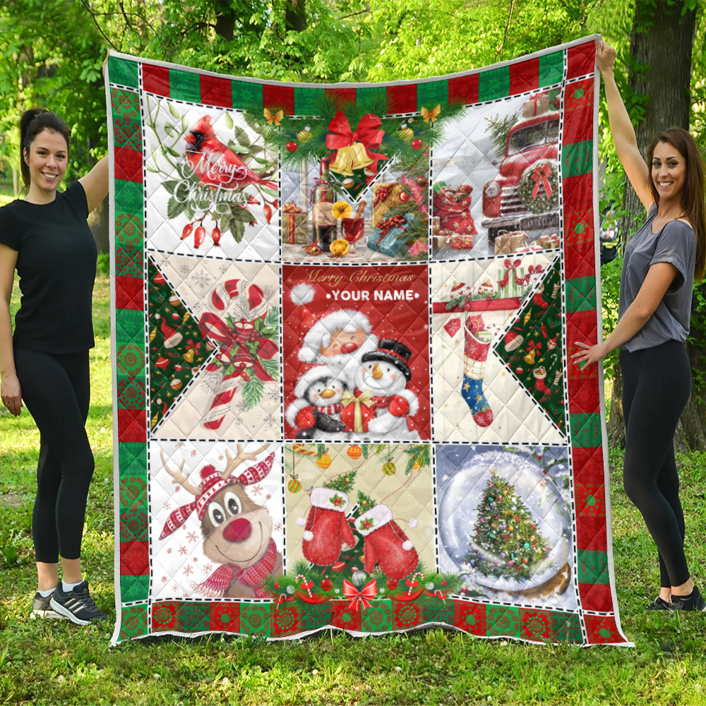 Personalized Quilt Throw Blanket Ho Ho Ho Christmas Is Here Pattern 1 Lightweight Super Soft Cozy For Decorative Couch Sofa Bed