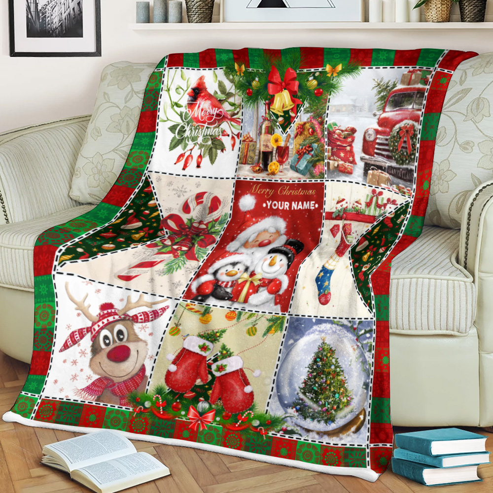 Personalized Fleece Throw Blanket Ho Ho Ho Christmas Is Here Pattern 1 Lightweight Super Soft Cozy For Decorative Couch Sofa Bed