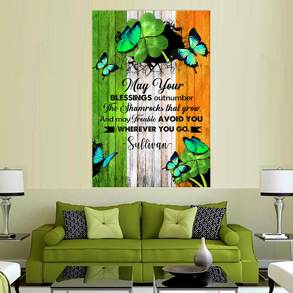 Personalized Lovely Wall Art Poster St Patrick's Day Heart Irish May You Blessings Pattern 1  Prints Decoracion Wall Art Picture Living Room Wall