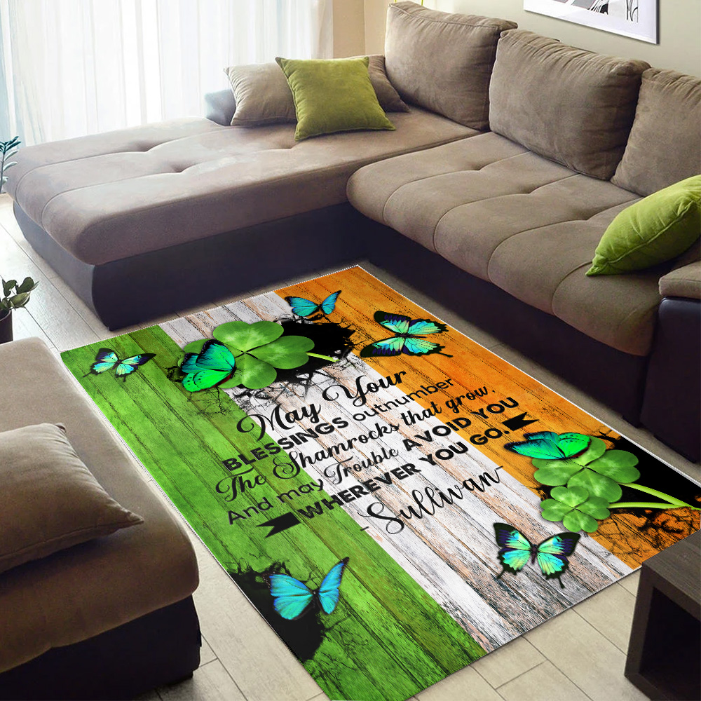 Personalized Lovely St Patrick's Day Heart Irish May You Blessings Out Number Pattern 1  Vintage Area Rug Anti-Skid Floor Carpet For Living Room Dinning Room Bedroom Office