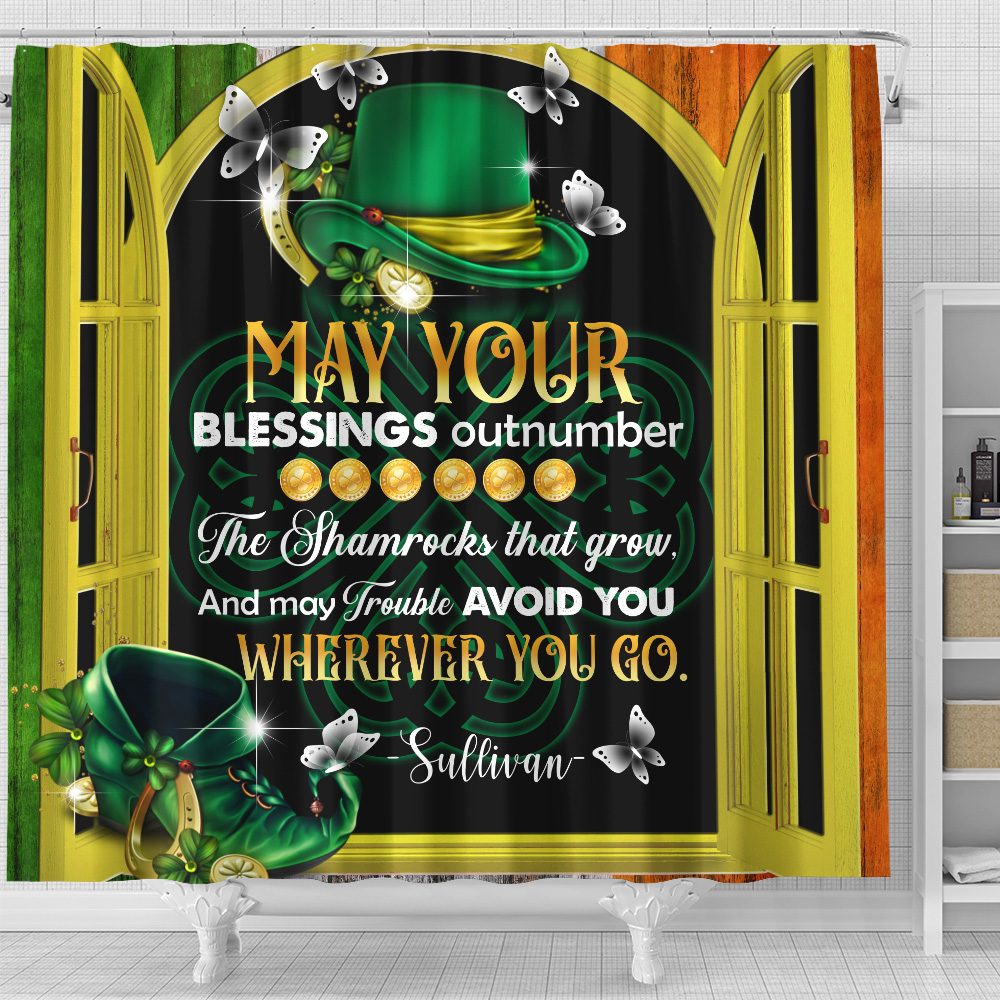 Personalized Lovely Shower Curtain St Patrick's Day Heart Irish May You Blessings Out Number Pattern 2 Set 12 Hooks Decorative Bath Modern Bathroom Accessories Machine Washable