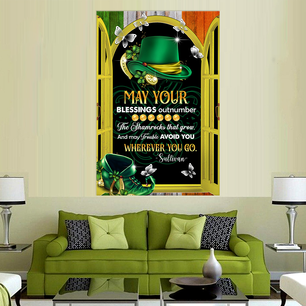 Personalized Lovely Wall Art Poster St Patrick's Day Heart Irish May You Blessings Out Number  Pattern 2 Prints Decoracion Wall Art Picture Living Room Wall