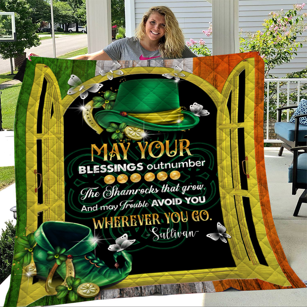 Personalized Lovely Quilt Throw Blanket St Patrick's Day Heart Irish May You Blessings Out Number  Pattern 2 Lightweight Super Soft Cozy For Decorative Couch Sofa Bed