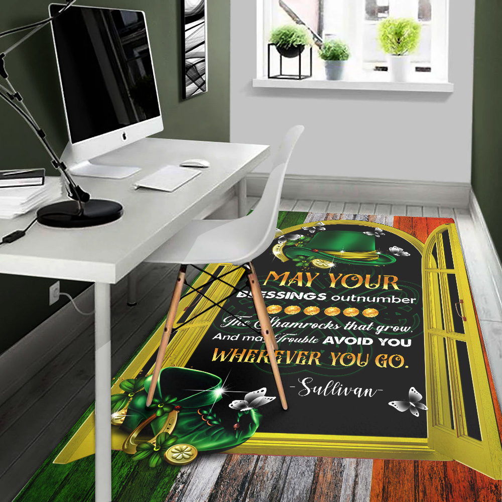 Personalized Lovely St Patrick's Day Heart Irish May You Blessings Out Number  Pattern 2 Vintage Area Rug Anti-Skid Floor Carpet For Living Room Dinning Room Bedroom Office