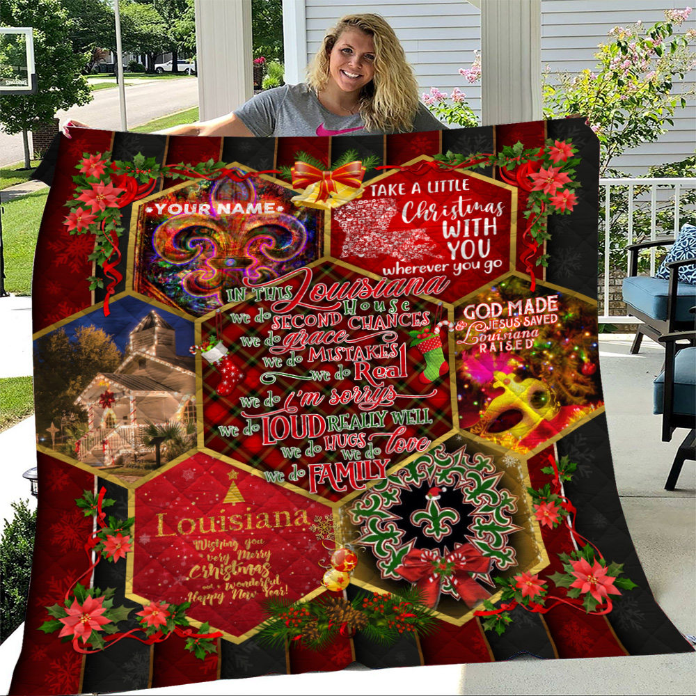 Personalized Quilt Throw Blanket  In This Louisiana House We Do Love We Do Family Pattern 1 Lightweight Super Soft Cozy For Decorative Couch Sofa Bed