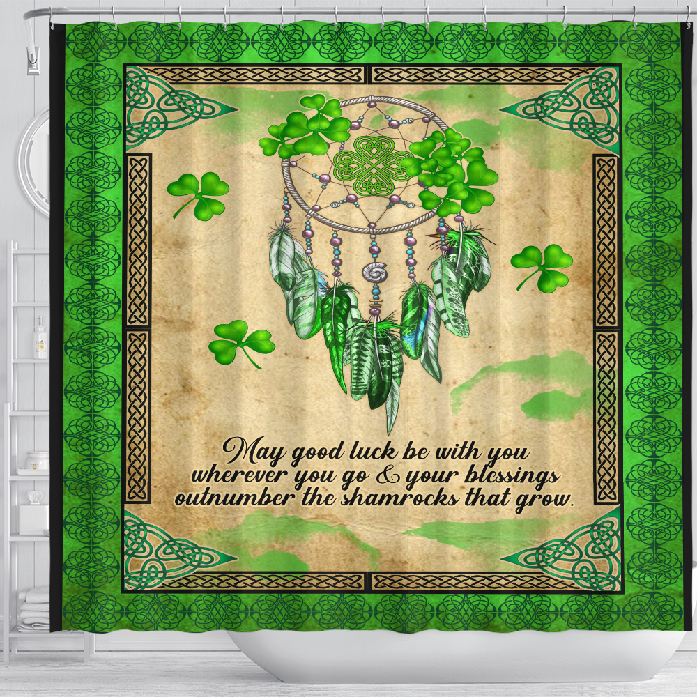 Personalized Lovely Shower Curtain St Patrick's Day Irish May God Luck Be With You Pattern 1 Set 12 Hooks Decorative Bath Modern Bathroom Accessories Machine Washable