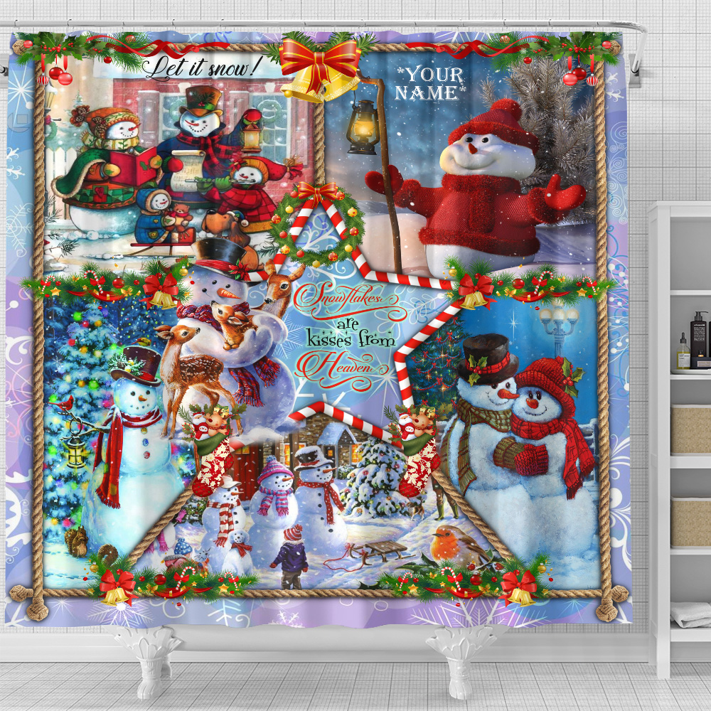 Personalized Shower Curtain 71 X 71 Inch Snowflakes Are Kisses From Heaven Pattern 1 Set 12 Hooks Decorative Bath Modern Bathroom Accessories Machine Washable
