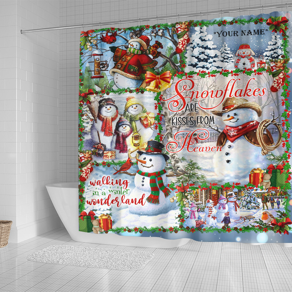 Personalized Shower Curtain 71 X 71 Inch Snowflakes Are Kisses From Heaven Pattern 2 Set 12 Hooks Decorative Bath Modern Bathroom Accessories Machine Washable