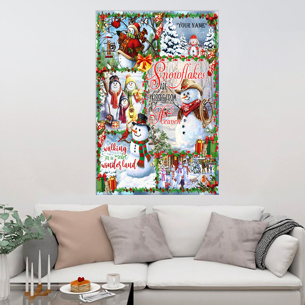Personalized Wall Art Poster Canvas 1 Panel Snowflakes Are Kisses From Heaven Pattern 2 Great Idea For Living Home Decorations Birthday Christmas Aniversary
