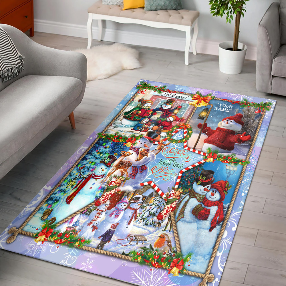 Personalized Floor Area Rugs Snowflakes Are Kisses From Heaven Pattern 1 Indoor Home Decor Carpets Suitable For Children Living Room Bedroom Birthday Christmas Aniversary