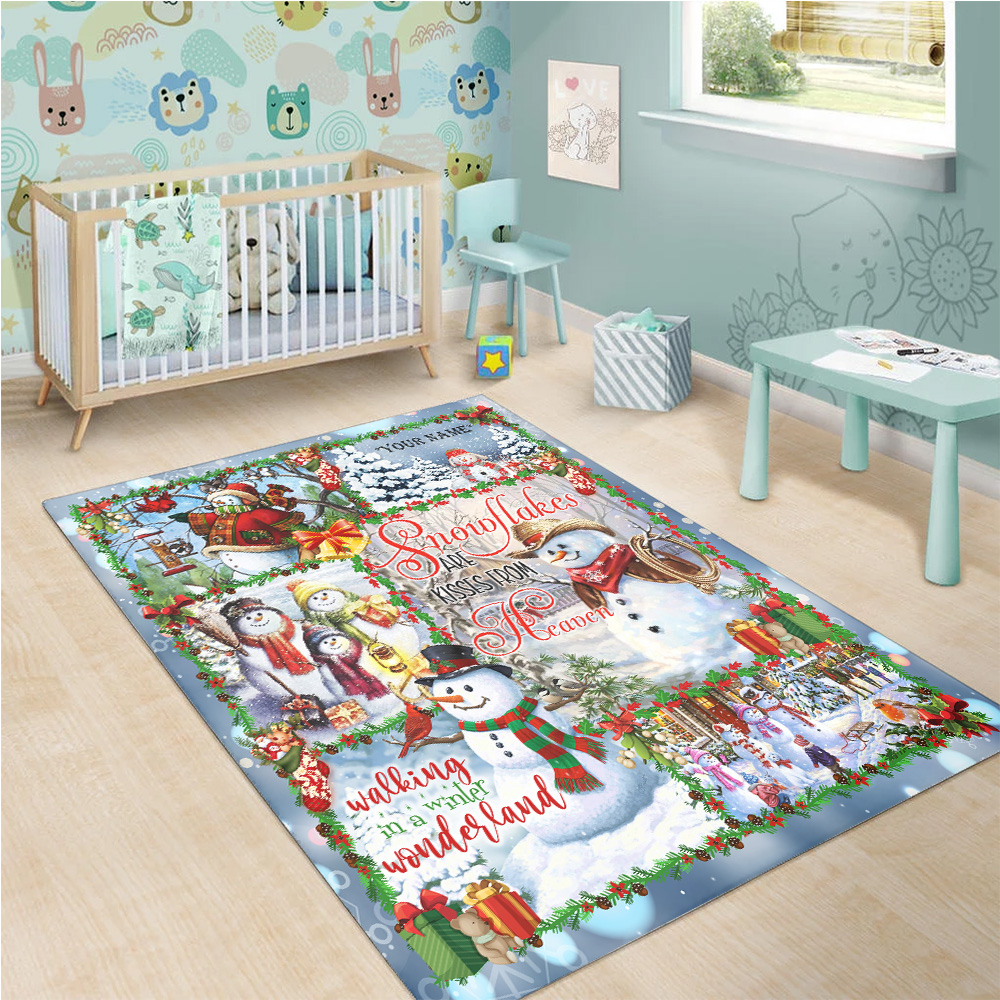 Personalized Floor Area Rugs Snowflakes Are Kisses From Heaven Pattern 2 Indoor Home Decor Carpets Suitable For Children Living Room Bedroom Birthday Christmas Aniversary
