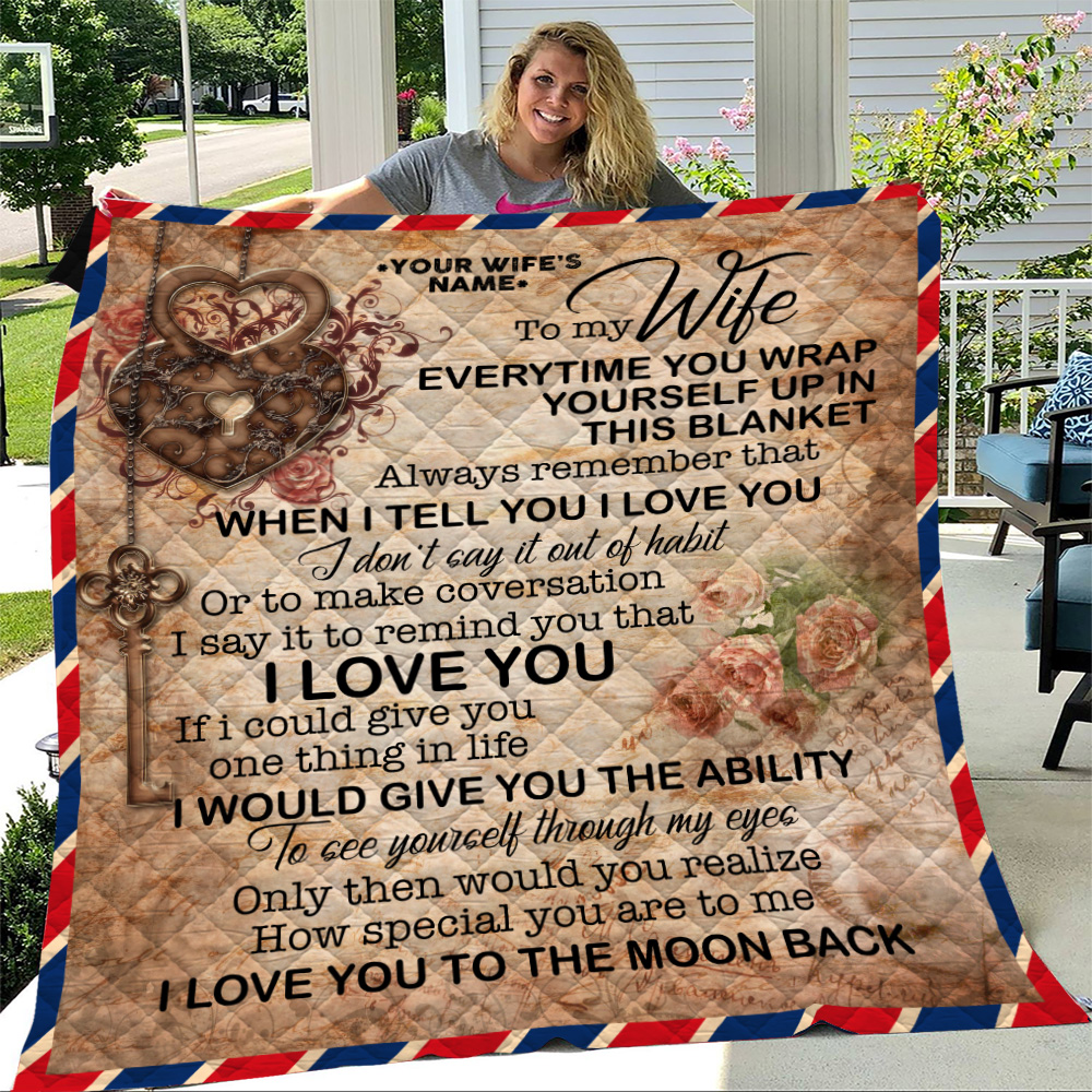 Personalized Quilt Throw Blanket To My Wife I Love You To The Moon And Back Lightweight Super Soft Cozy For Decorative Couch Sofa Bed