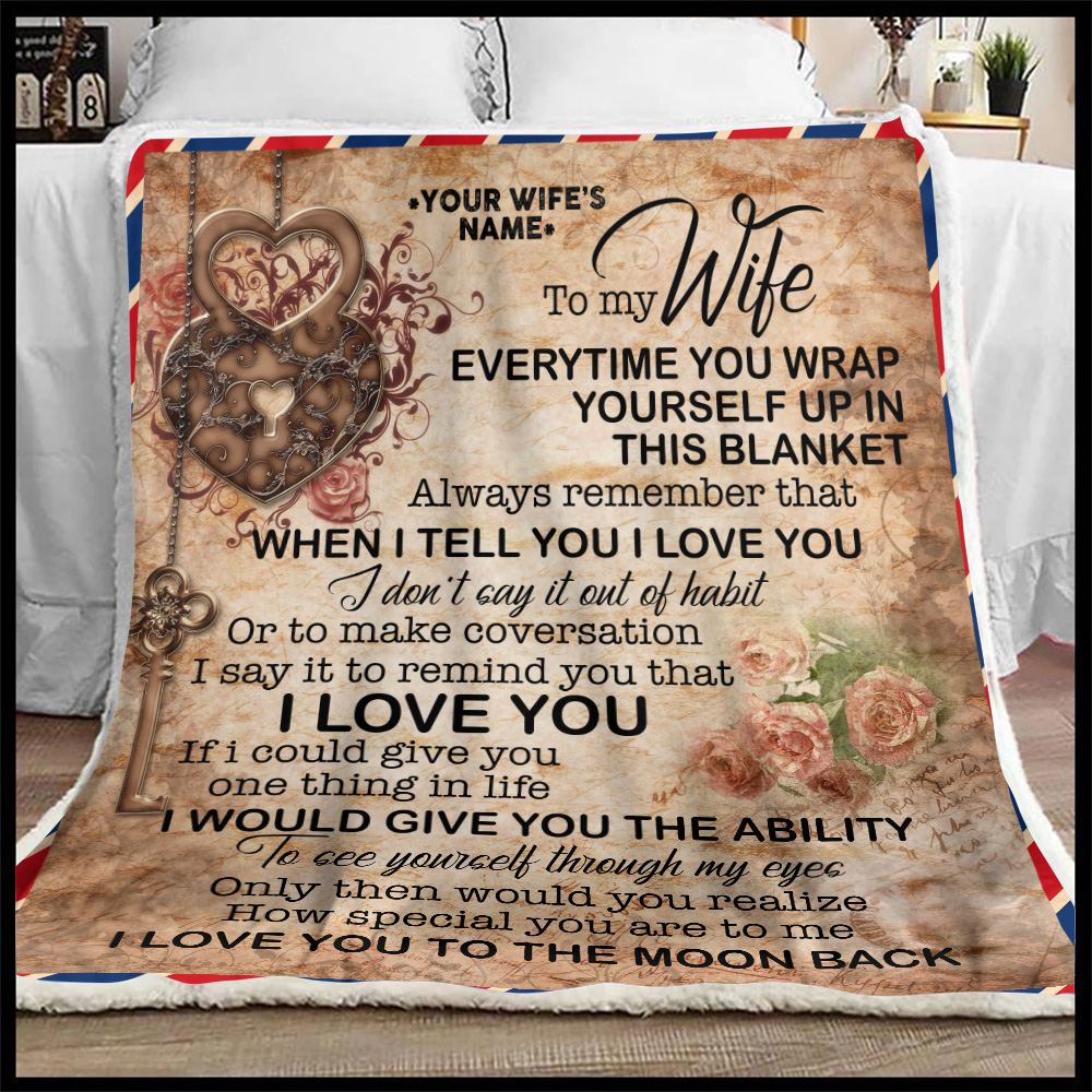 Personalized Fleece Throw Blanket To My Wife I Love You To The Moon And Back Lightweight Super Soft Cozy For Decorative Couch Sofa Bed