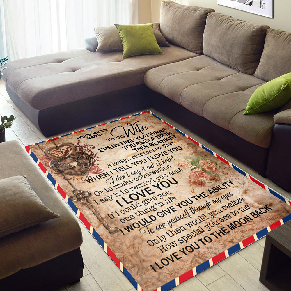 Personalized Floor Area Rugs To My Wife I Love You To The Moon And Back Indoor Home Decor Carpets Suitable For Children Living Room Bedroom Birthday Christmas Aniversary