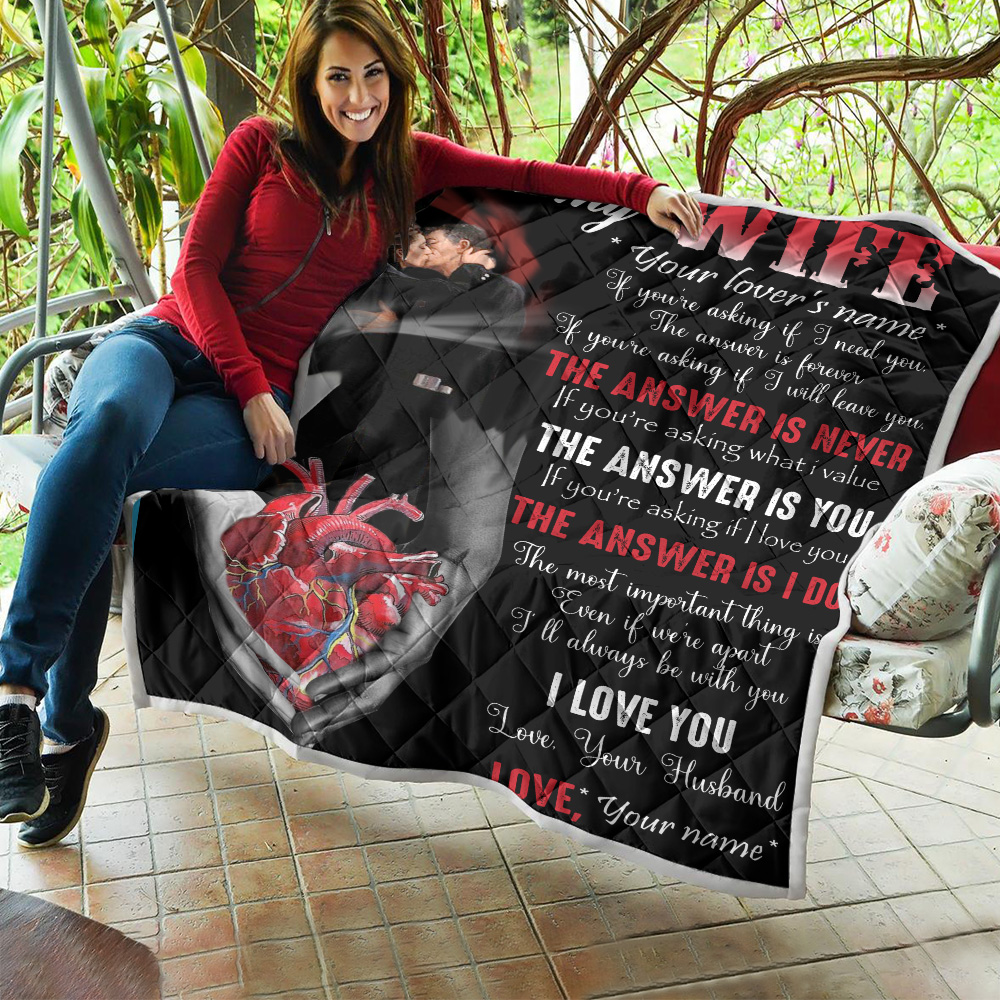 Personalized Quilt Throw Blanket To My Wife I Love You Every Single Moment Pattern 1 Lightweight Super Soft Cozy For Decorative Couch Sofa Bed