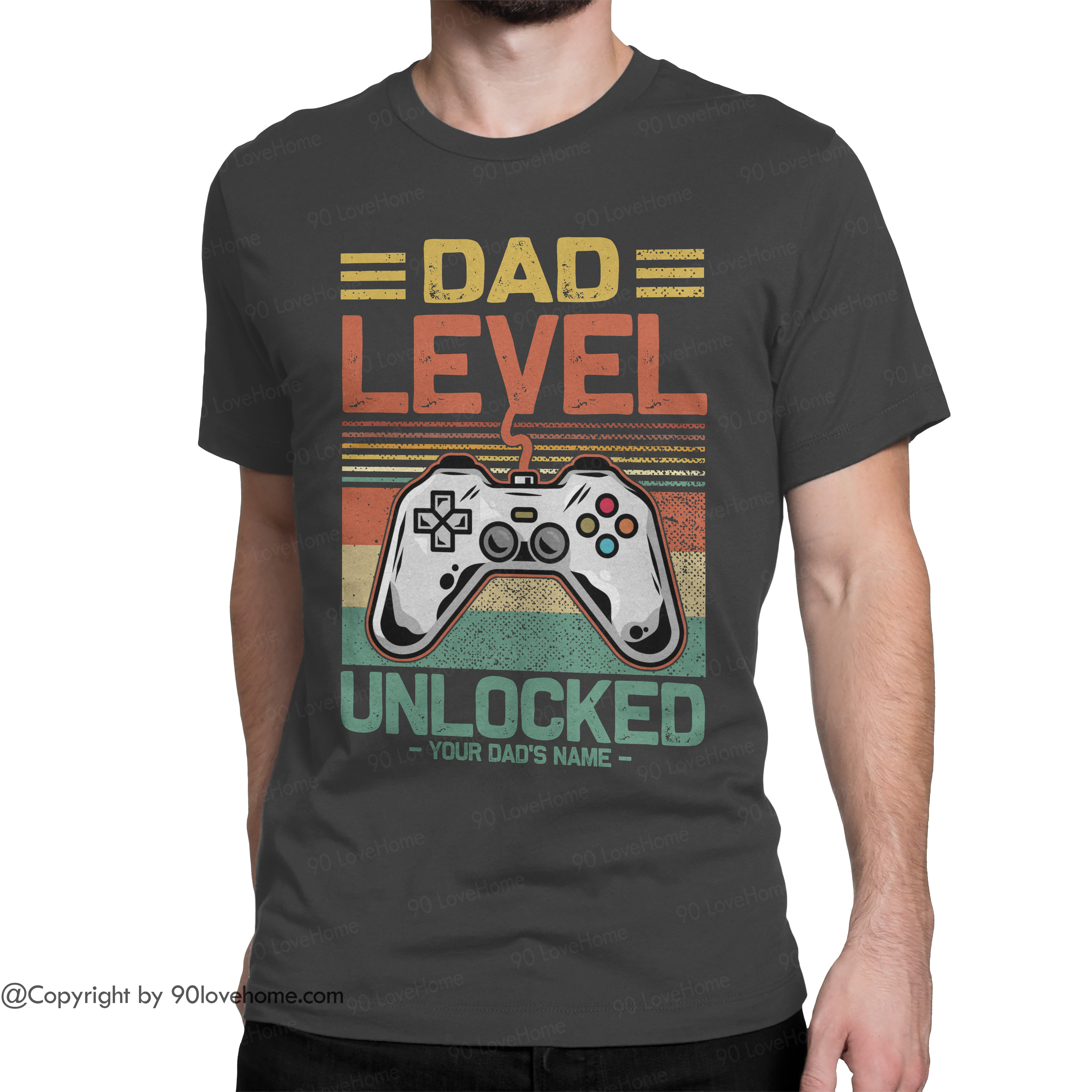 Personalized Dad Level Unlocked Unisex T-shirt Future Expecting Daddy Tee Father's Day Birthday Gift For Dad 90LoveHome