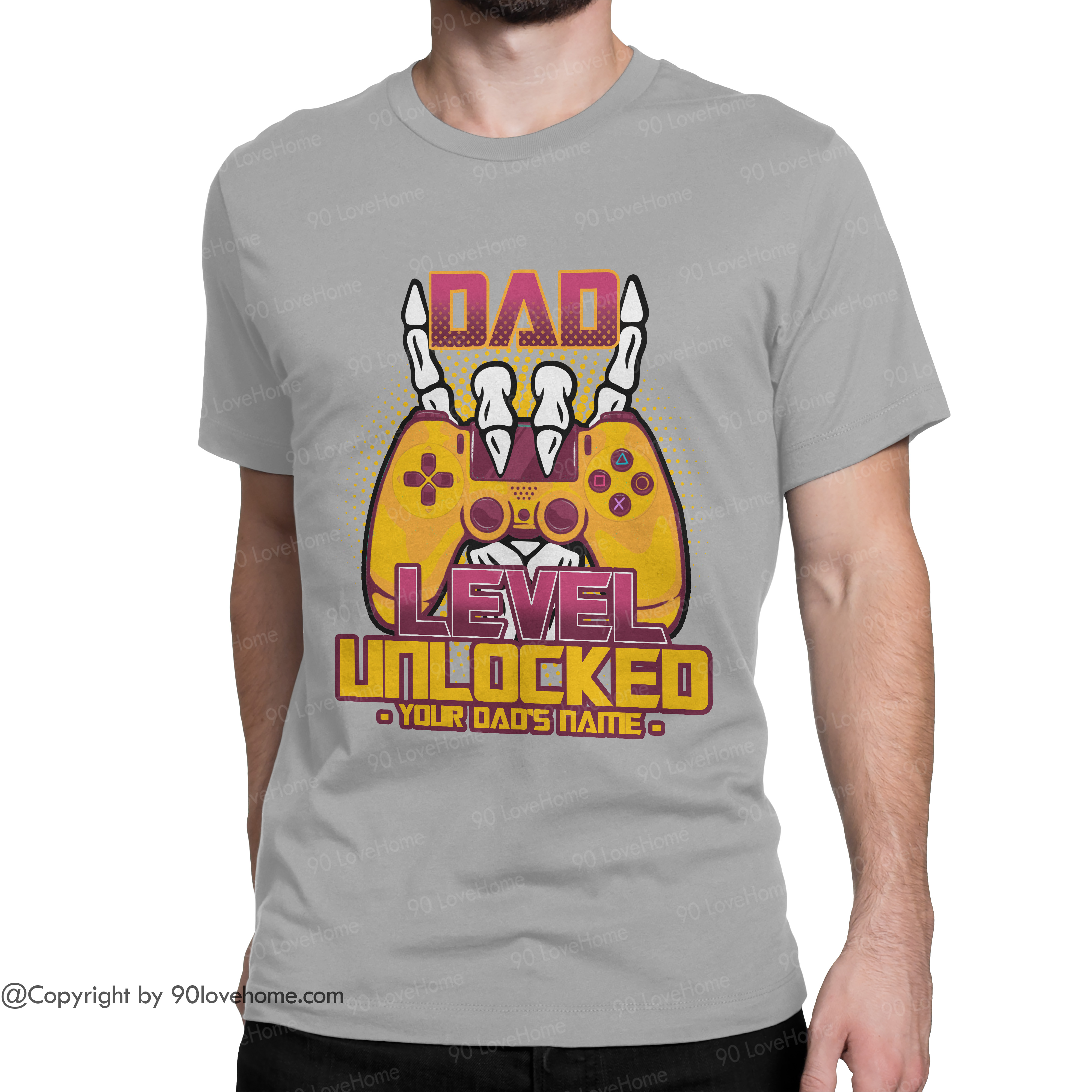 Customized Dad Level Unlocked Unisex T-shirt Future Expecting Daddy Tee Father's Day Birthday Gift For Dad 90LoveHome