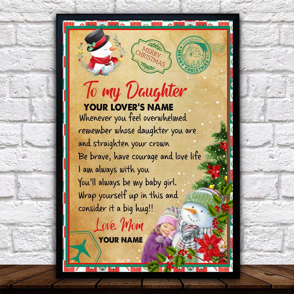 Personalized Wall Art Poster Canvas 1 Panel To My Daughter Remember Whose Daughter You Are And Straighten Your Crown Pattern 1 Great Idea For Living Home Decorations Birthday Christmas Aniversary