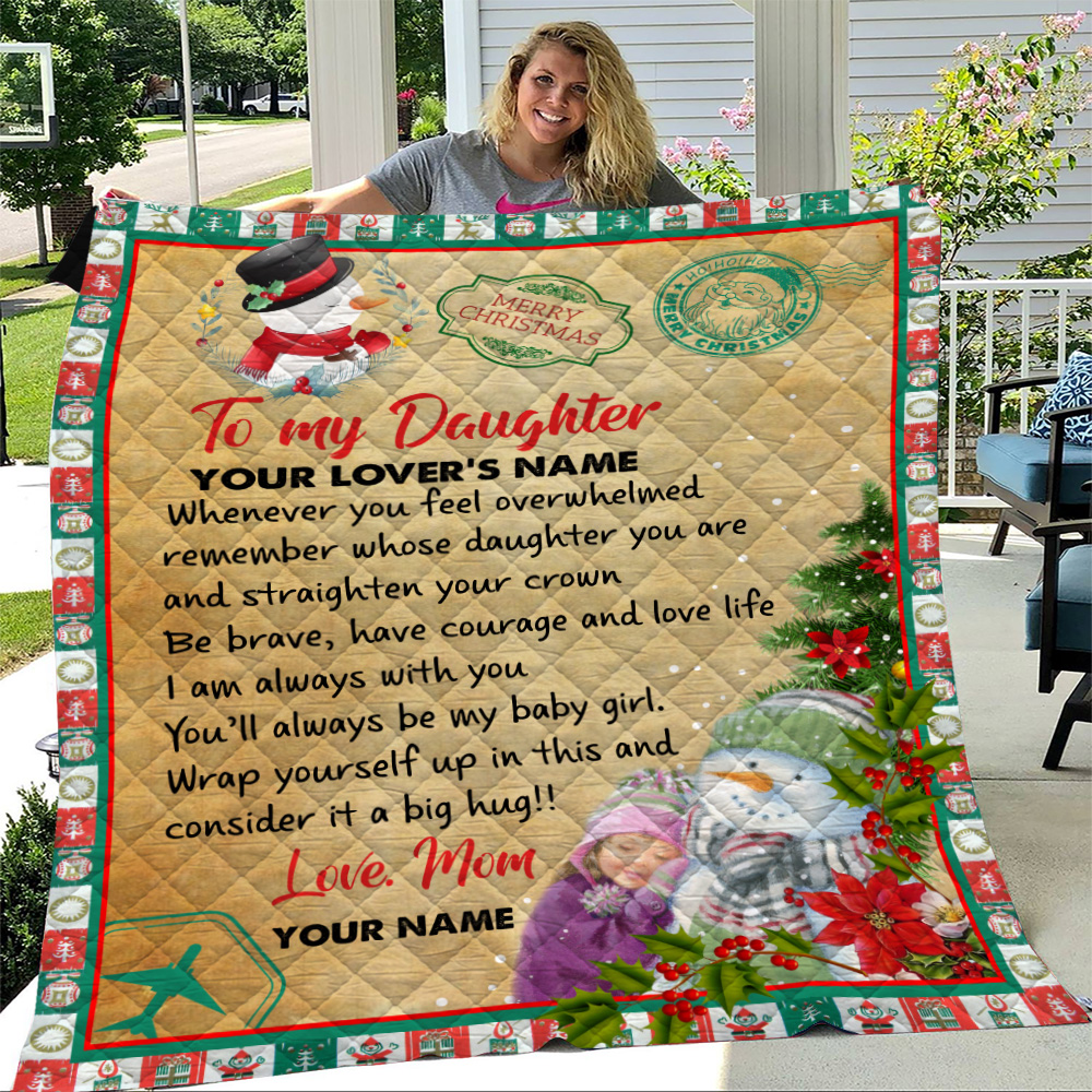 Personalized Quilt Throw Blanket To My Daughter Remember Whose Daughter You Are And Straighten Your Crown Pattern 1 Lightweight Super Soft Cozy For Decorative Couch Sofa Bed