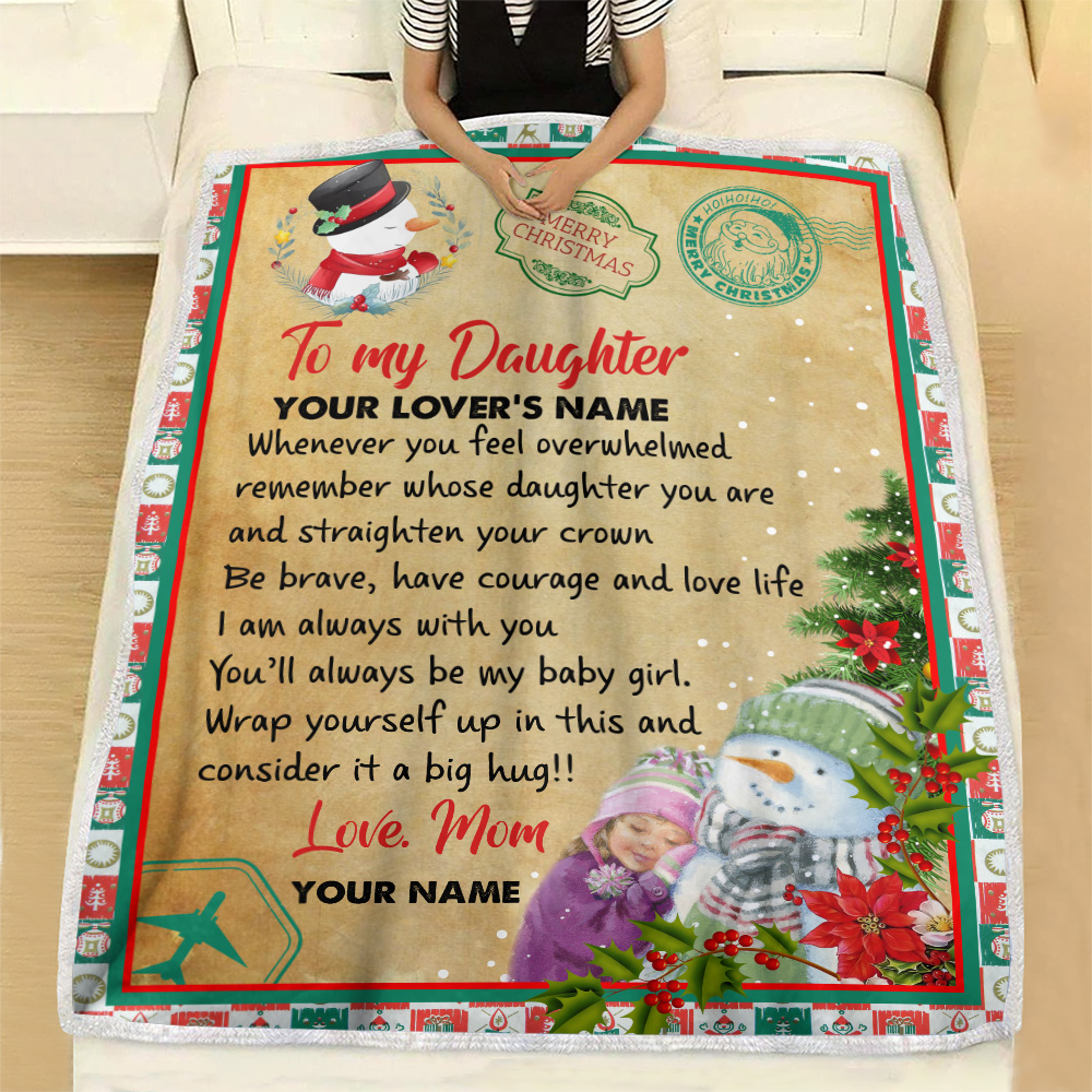 Personalized Fleece Throw Blanket To My Daughter Remember Whose Daughter You Are And Straighten Your Crown Pattern 1 Lightweight Super Soft Cozy For Decorative Couch Sofa Bed