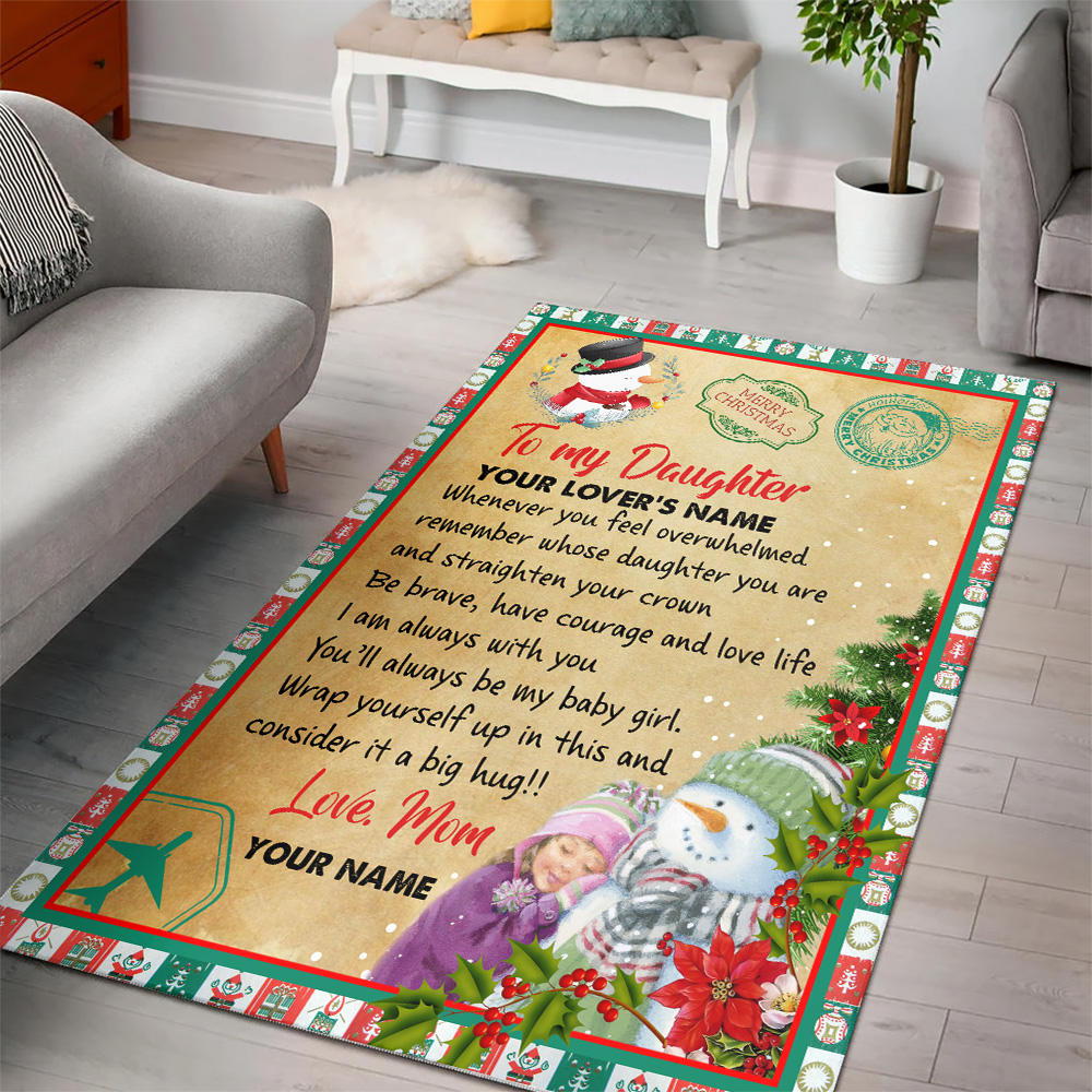 Personalized Floor Area Rugs To My Daughter Remember Whose Daughter You Are And Straighten Your Crown Pattern 1 Indoor Home Decor Carpets Suitable For Children Living Room Bedroom Birthday Christmas Aniversary