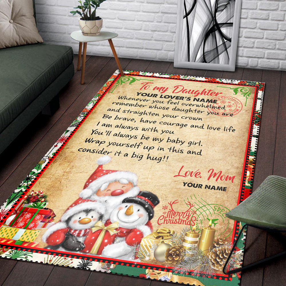 Personalized Floor Area Rugs To My Daughter Remember Whose Daughter You Are And Straighten Your Crown Pattern 2 Indoor Home Decor Carpets Suitable For Children Living Room Bedroom Birthday Christmas Aniversary